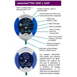 Características Desfibrilador Samaritan PAD 350P