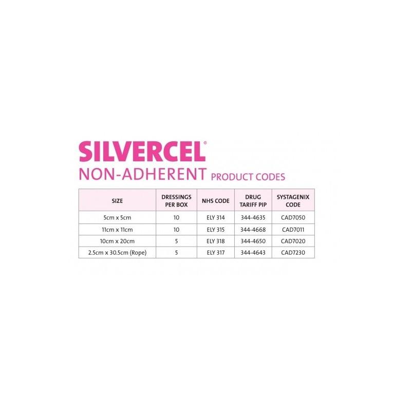 tabla códigos Apósitos Silvercel No adherente