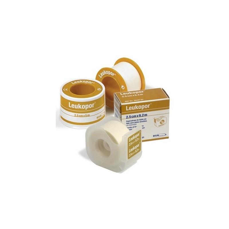 Leukopor esparadrapo de tejido poroso con dispensador