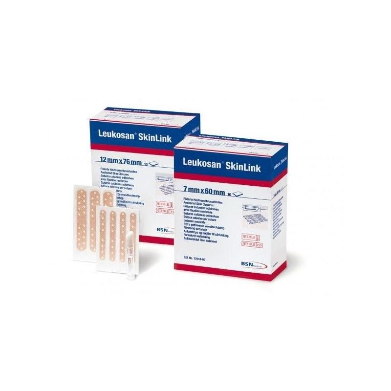 Tira de sutura cutánea con anclaje Leukosan SkinLink  7mm x 60mm caja 10 blisters