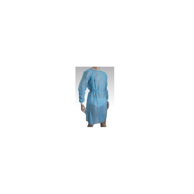 Bata desechable manga larga con puño Algodón Tricot tejido sin tejer 30gr Azul Claro