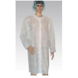 Bata laboratorio desechable manga larga puño elástico tejido sin tejer Blanca
