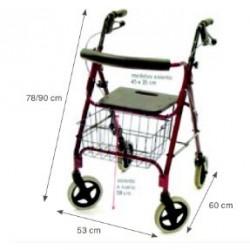 andador 4 ruedas plegable rollator