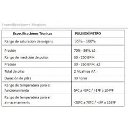 Especificaciones técnicas Pulsioximetro Apex