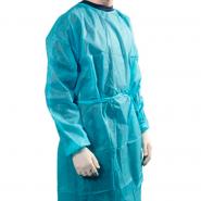 Bata desechable manga larga con puño elástico  tejido sin tejer 20 gramos de grosor Color azul claro