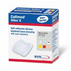 Apósito de espuma de poliuretano absorbente con reborde adhesivo y capa de contacto de silicona.