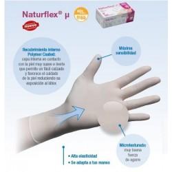 Guantes no estériles de latex sin polvo naturflex micro