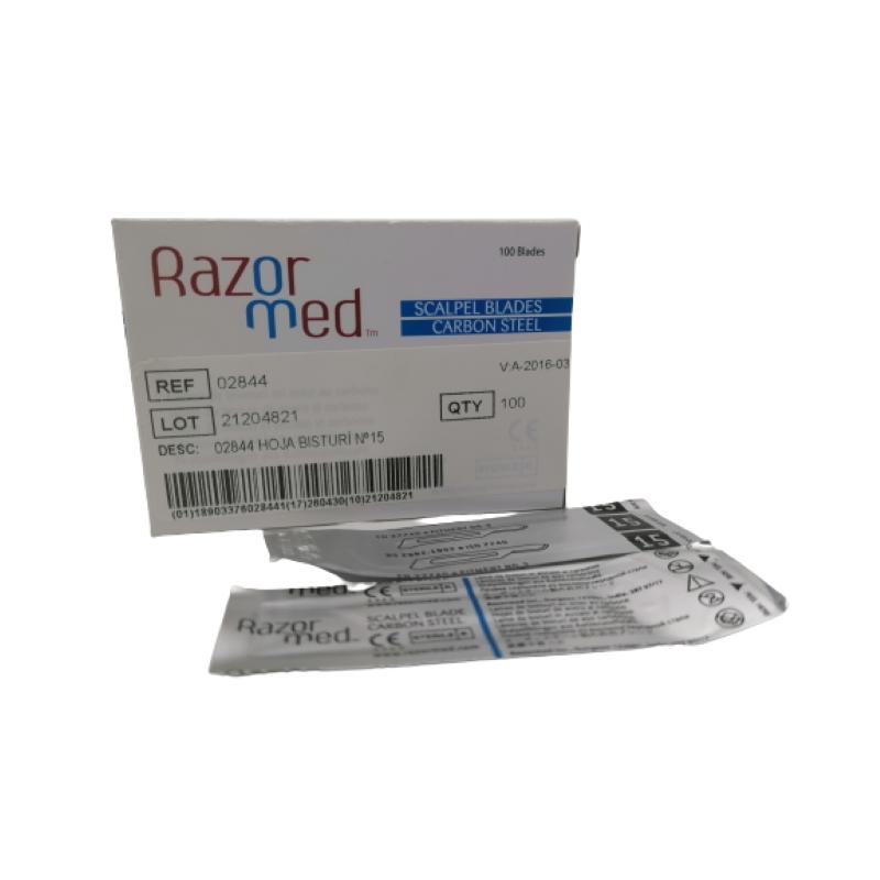 Hoja de bisturí estéril de acero de carbono RazorMed