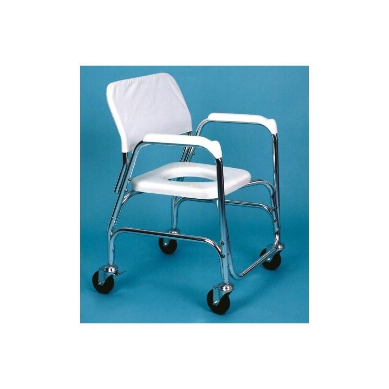 silla de ruedas para ducha y WC con asiento
