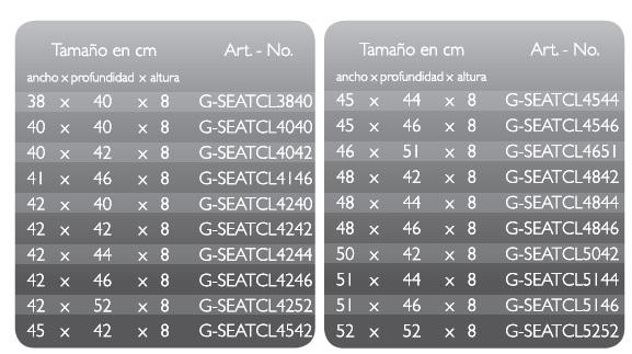 Medidas disponibles GelSeat Clinic